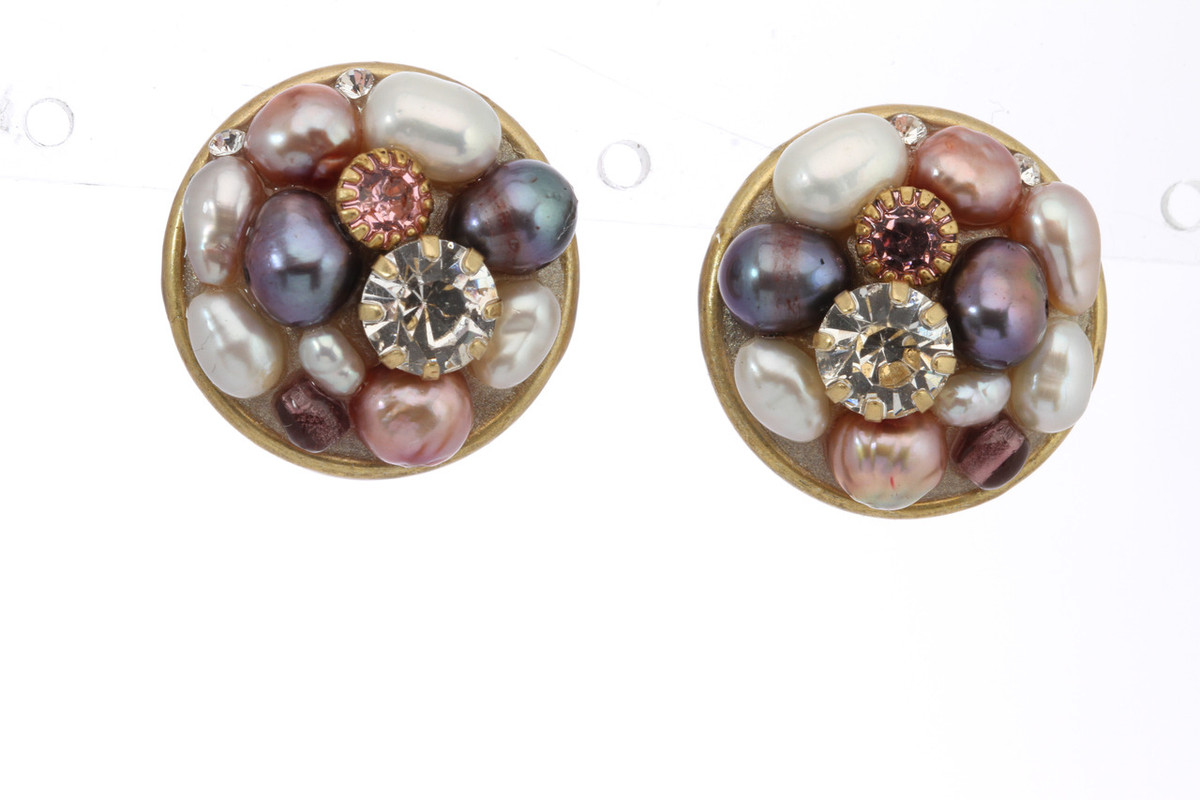 Pink Michal Golan Jewelry Small Round Earrings