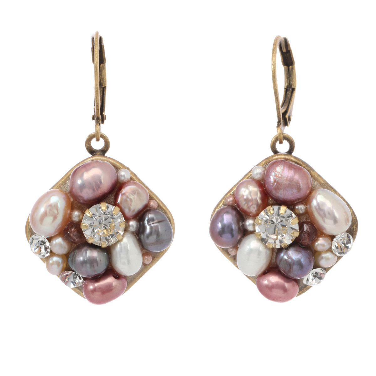 Pink Medium Square earrings from Michal Golan Jewelry