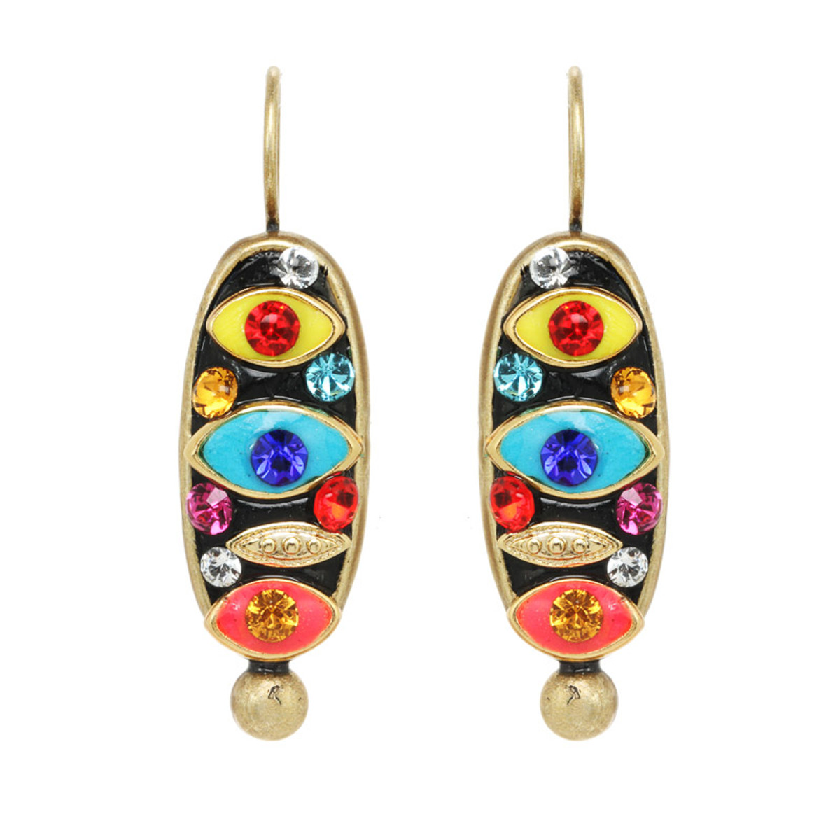 Michal Golan Jewelry Oval Multi-eye Wireback Multicolor Earrings