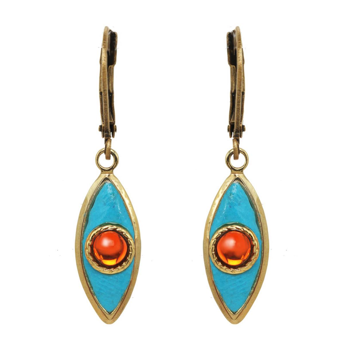 Teal Michal Golan Jewelry Teardrop Leverback Earrings