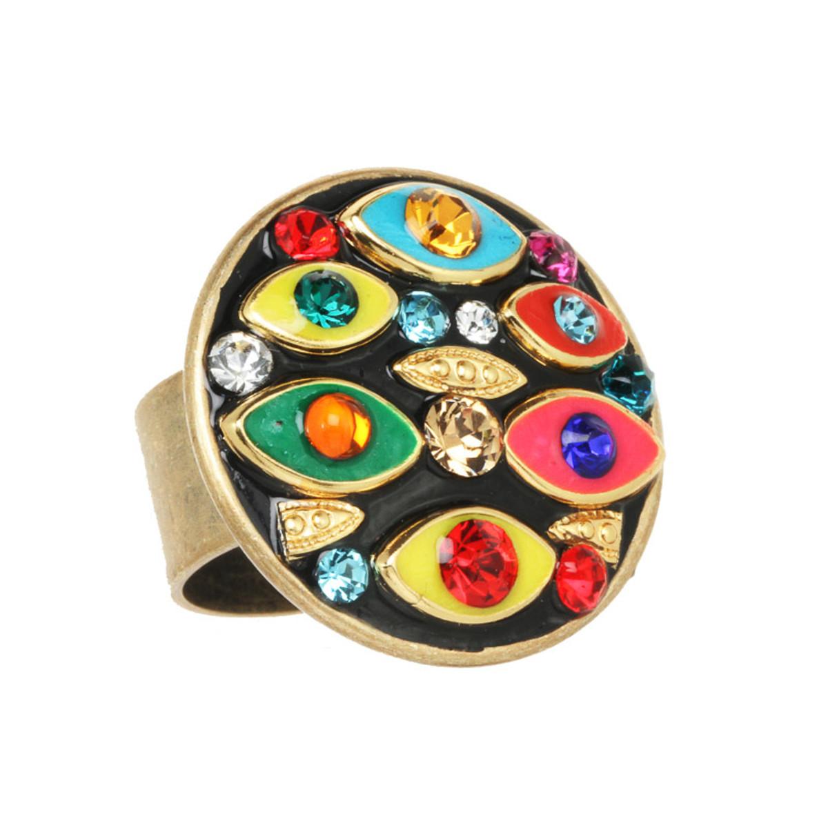 Michal Golan Jewelry Multi-eye Round Multicolor Ring