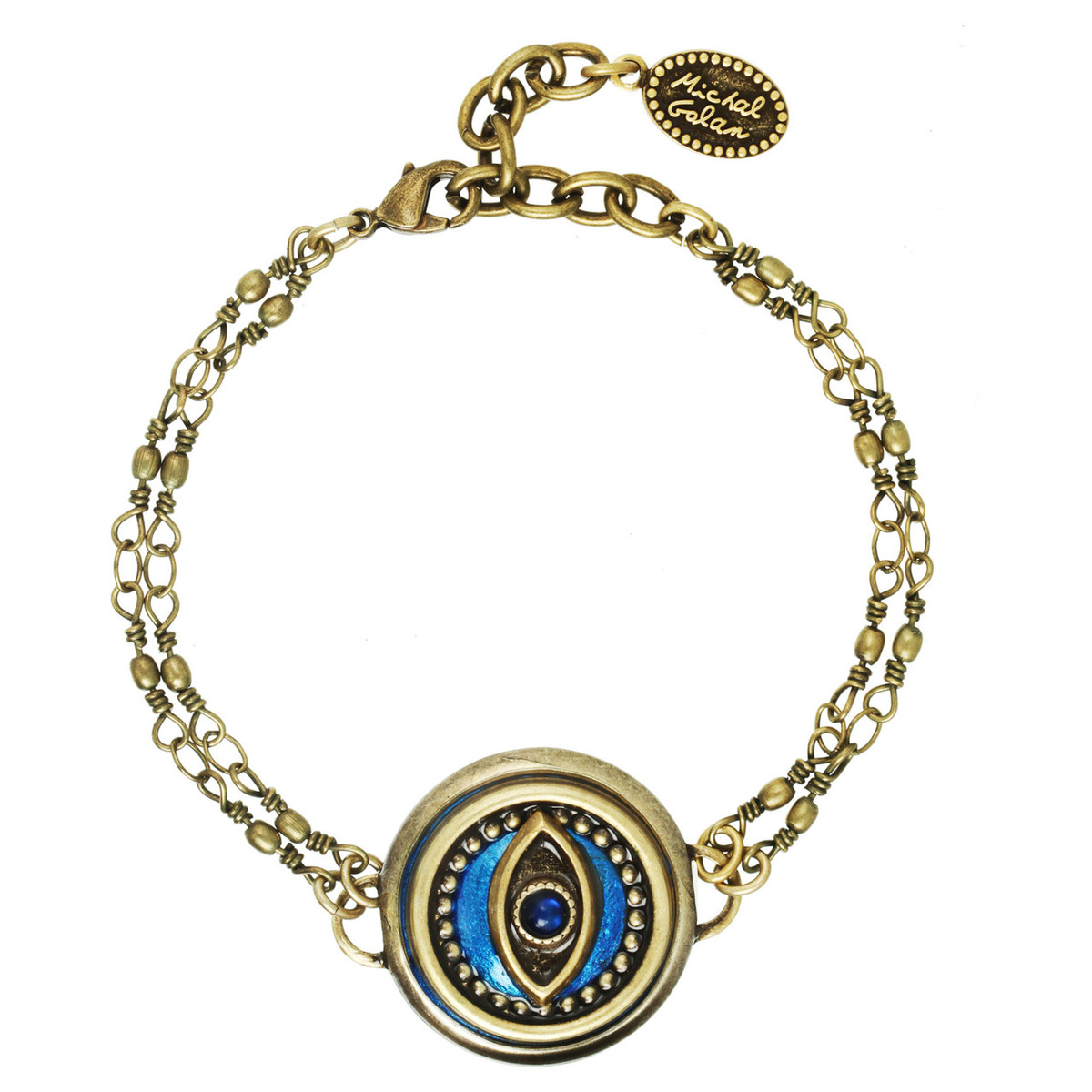 Michal Golan Jewelry Double Chain Round Evil Eye Blue Bracelet