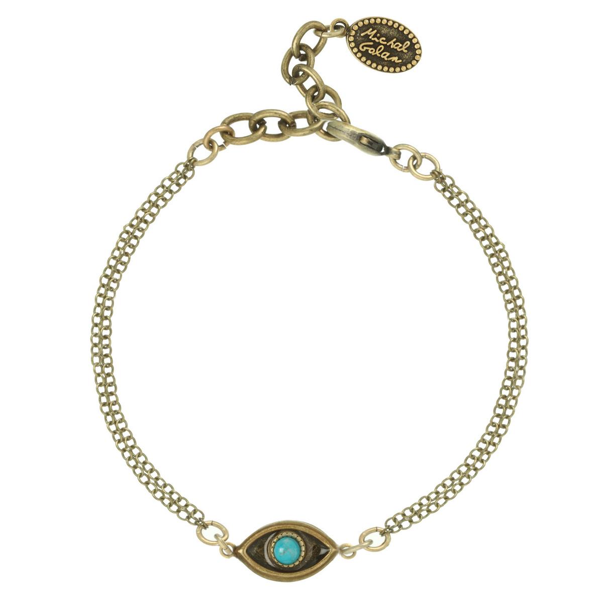 Michal Golan Evil Eye Gold Evil Eye with Turquoise Center Bracelet