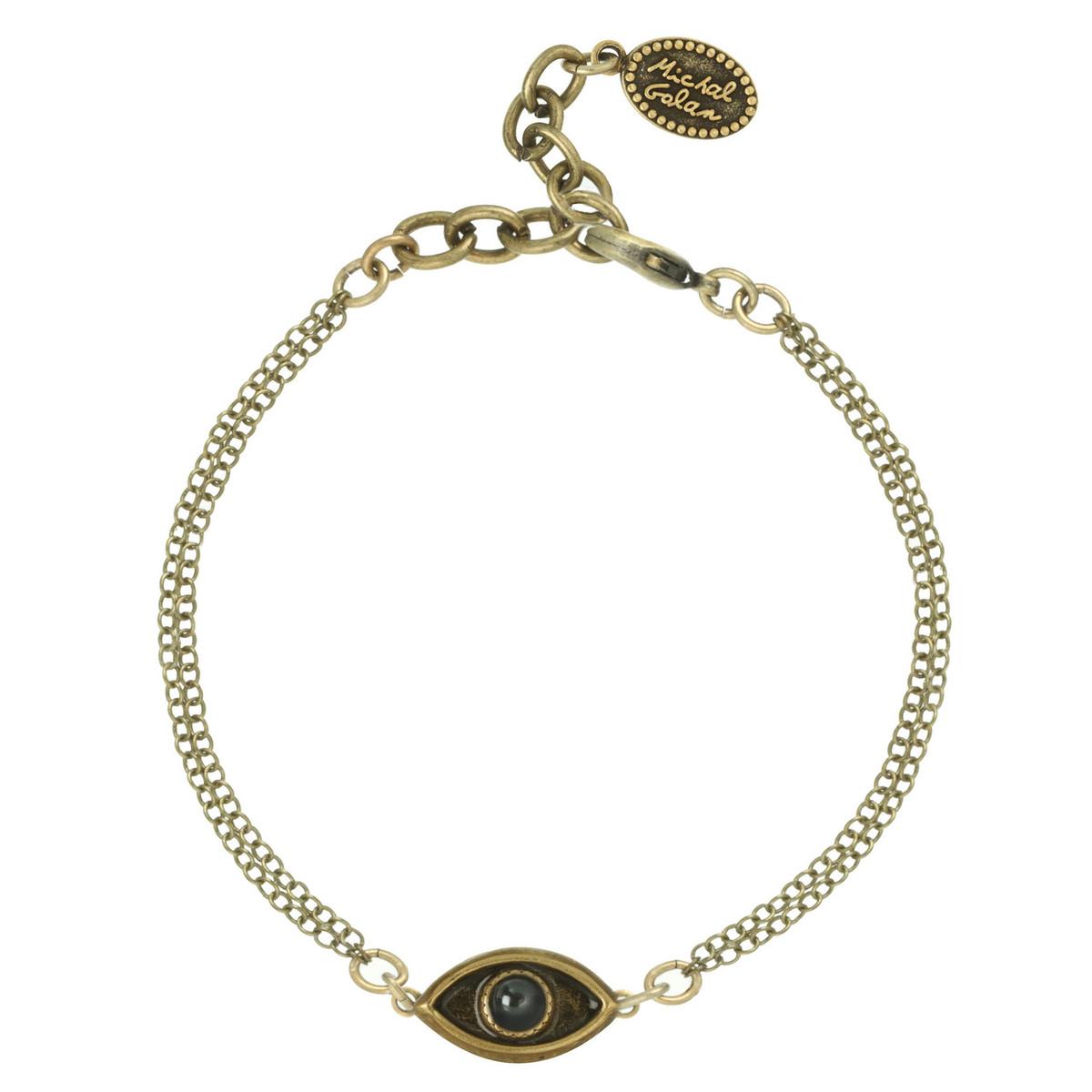 Michal Golan Jewelry Evil Eye with Hematite Center Gold Bracelet