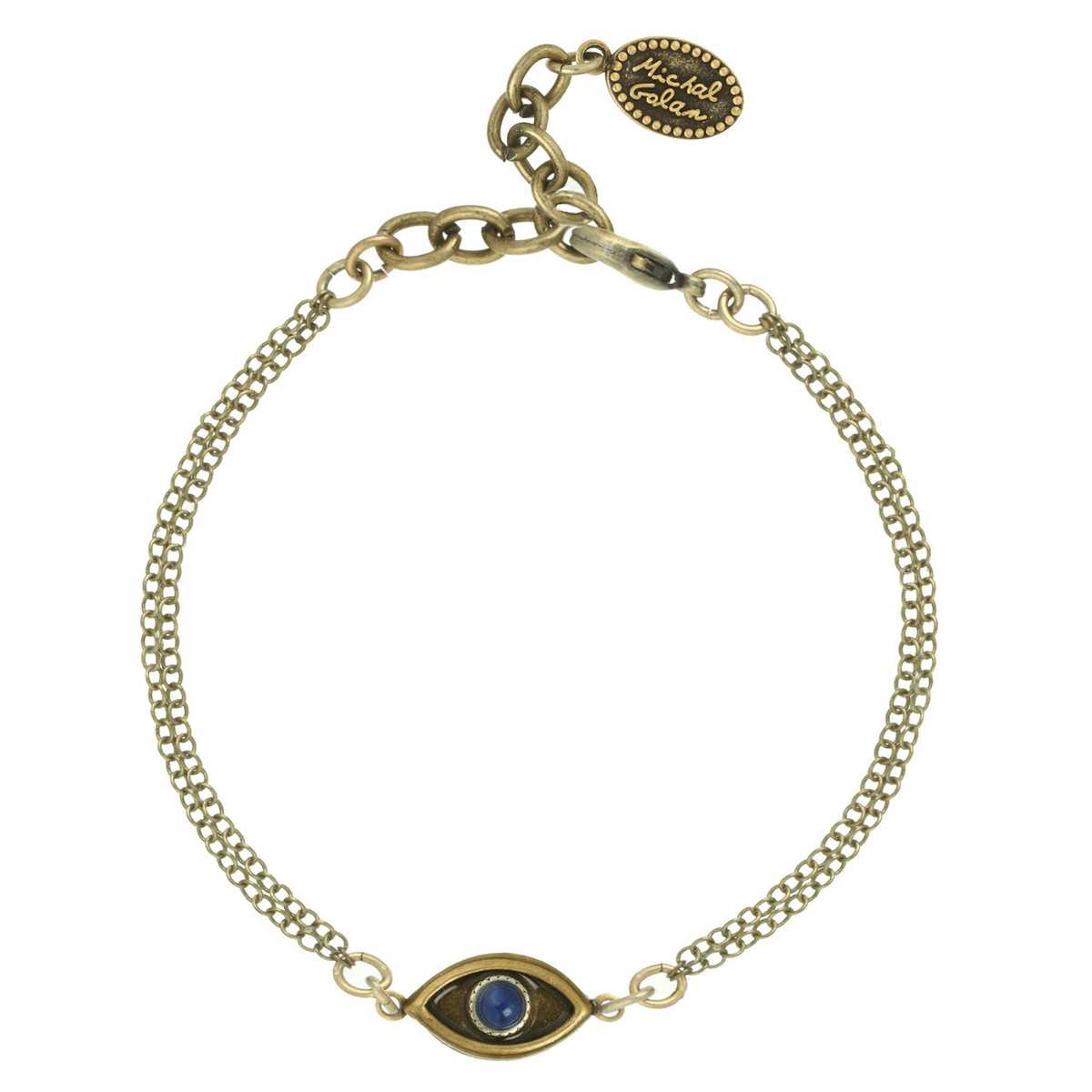 Gold Michal Golan Jewelry Evil Eye with Lapiz Center Bracelet