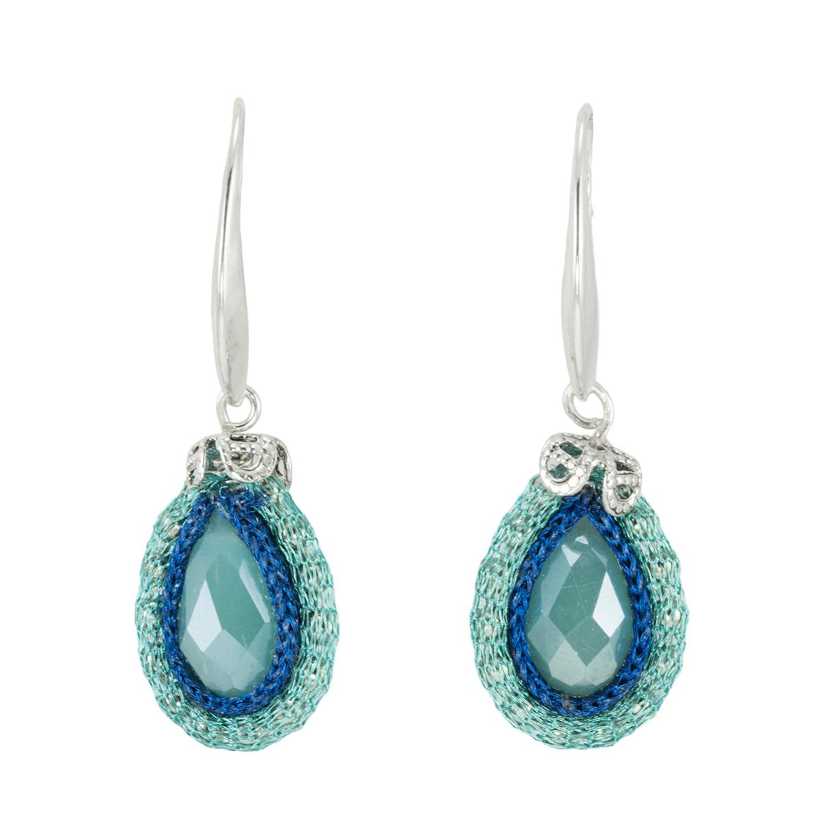 Blue Light Blue Joy Nouveau Glam earrings from Anat Jewelry
