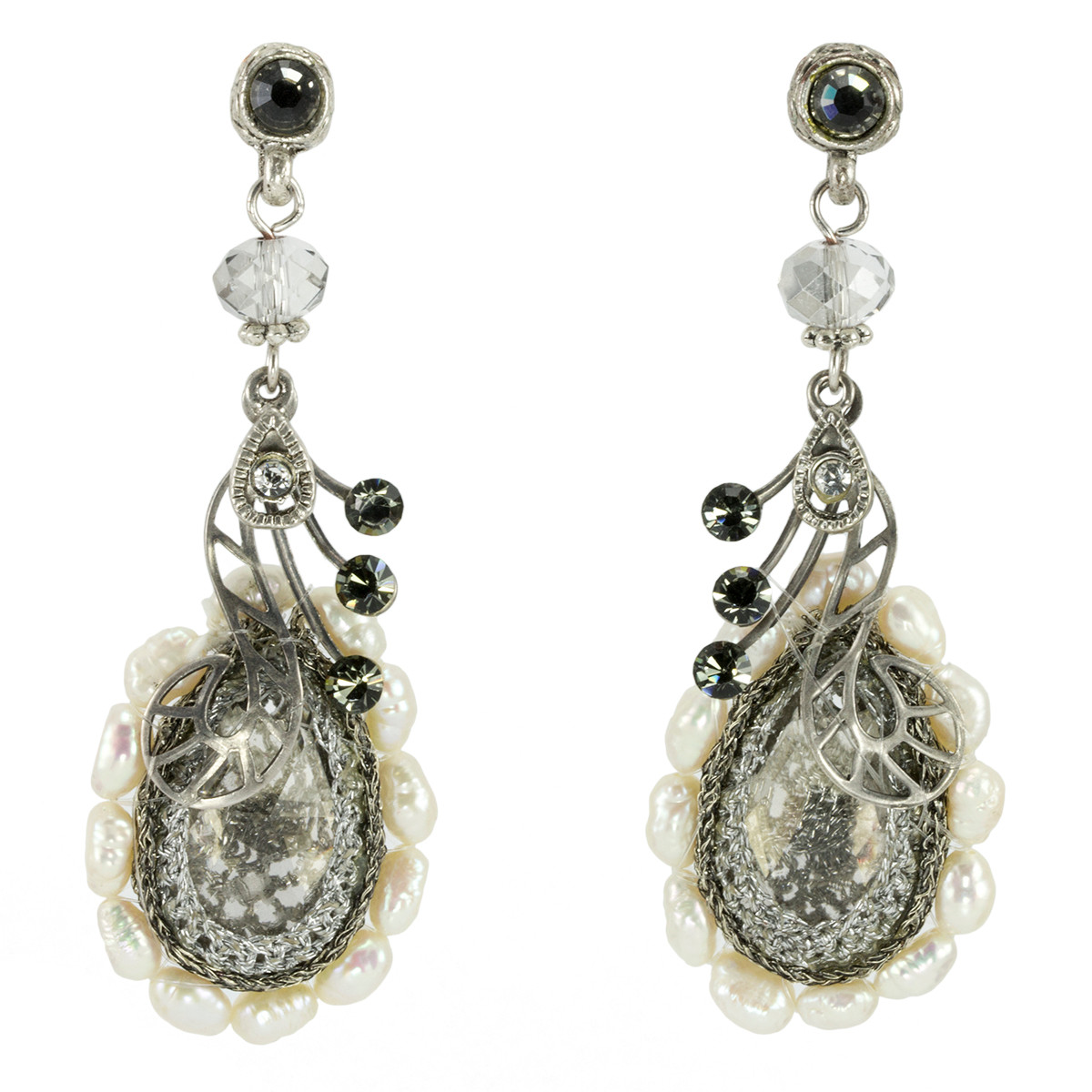 Anat Jewelry Silver Spark Nouveau Glam Earrings