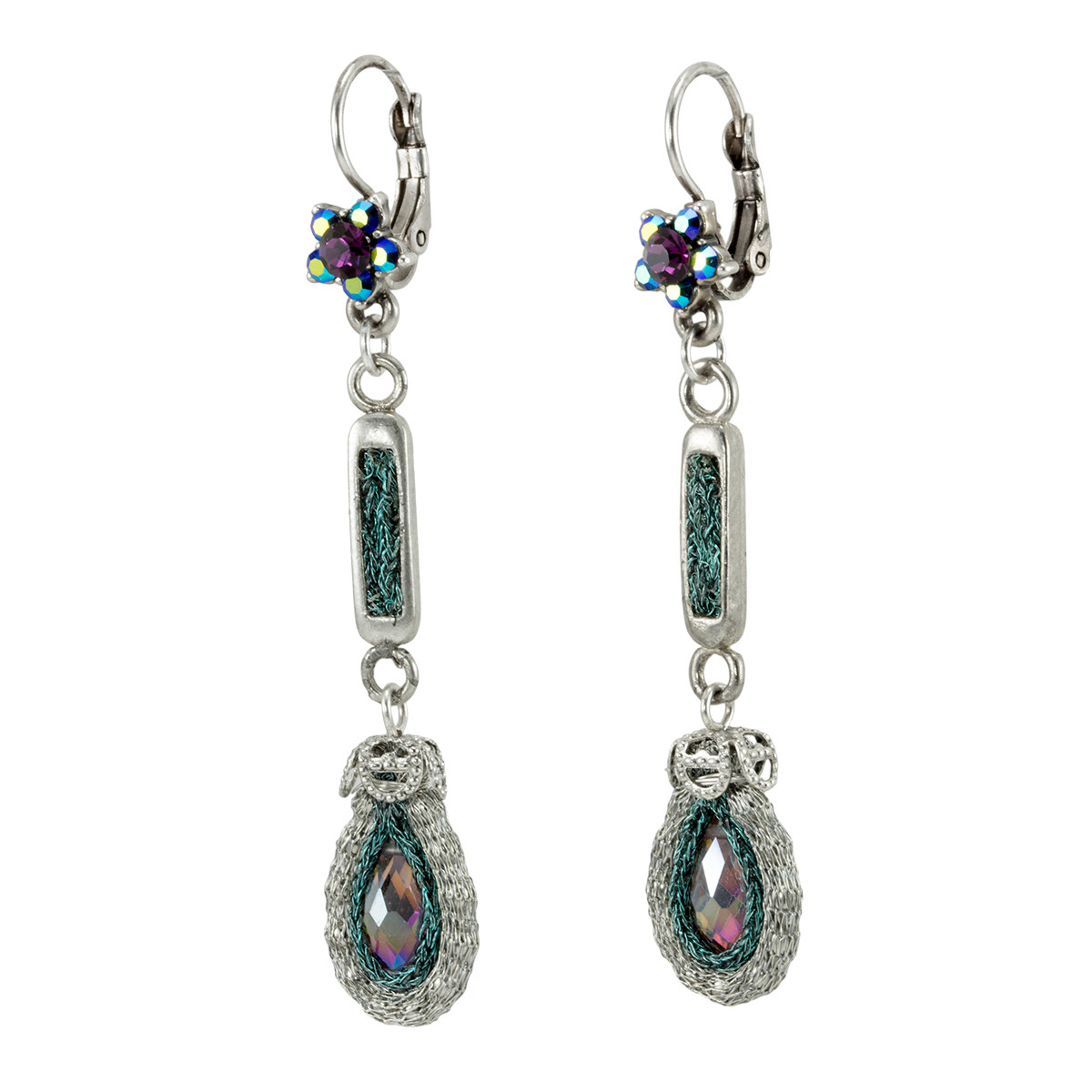 Anat Jewelry Teal with Flower Nouveau Glam Earrings