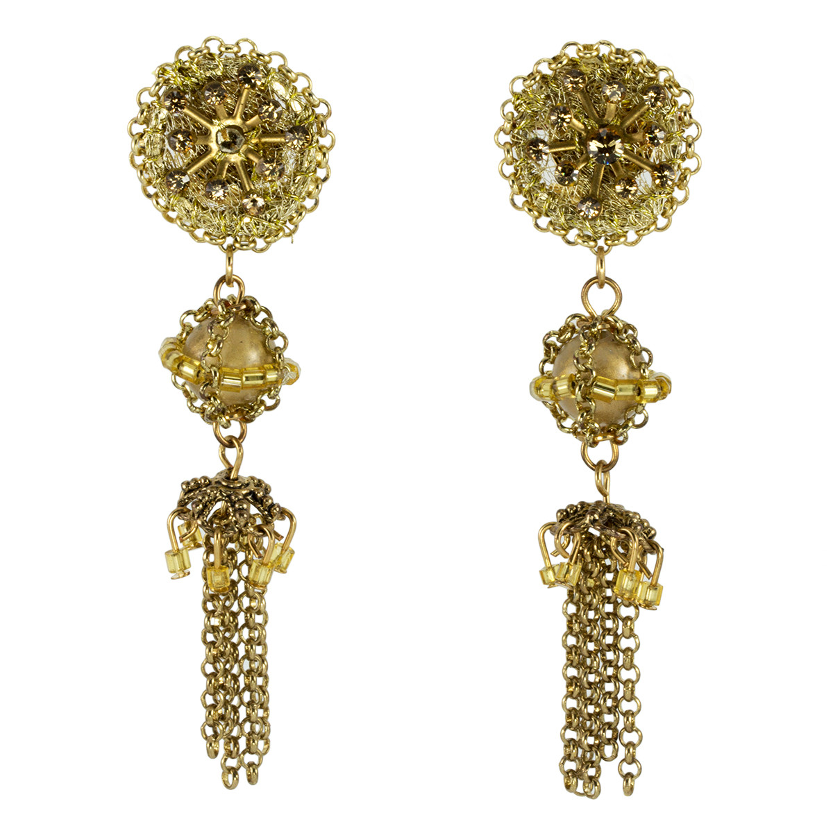 Anat Jewelry Golden River Fashion Net Gold Earrings