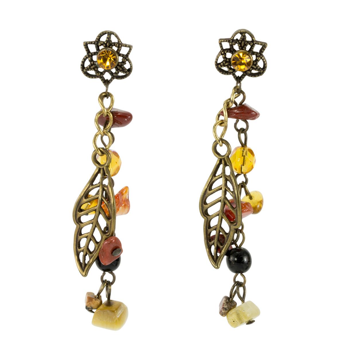 Anat Jewelry Golden Leaf  Brown Earrings