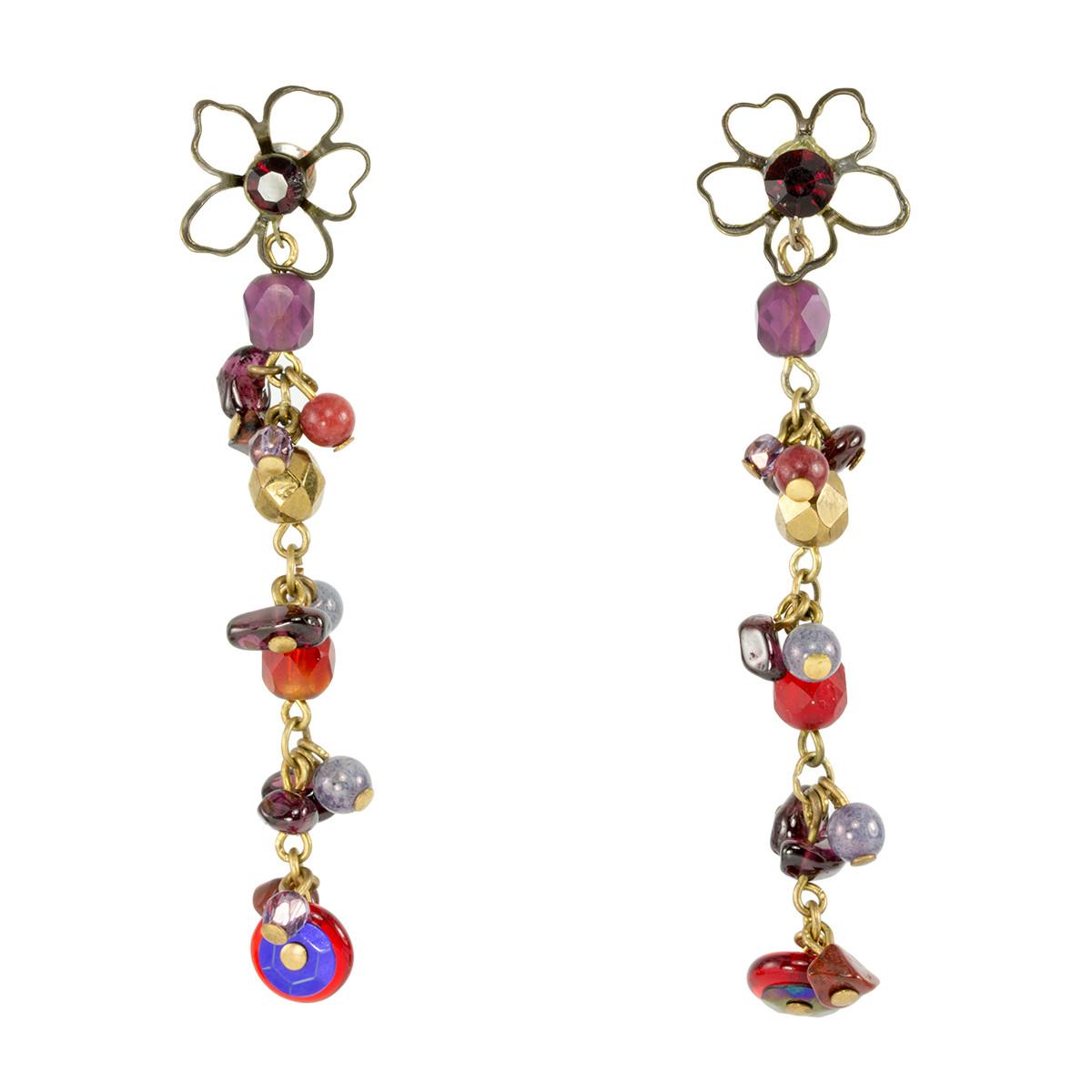 Anat Jewelry Flower   Red Earrings
