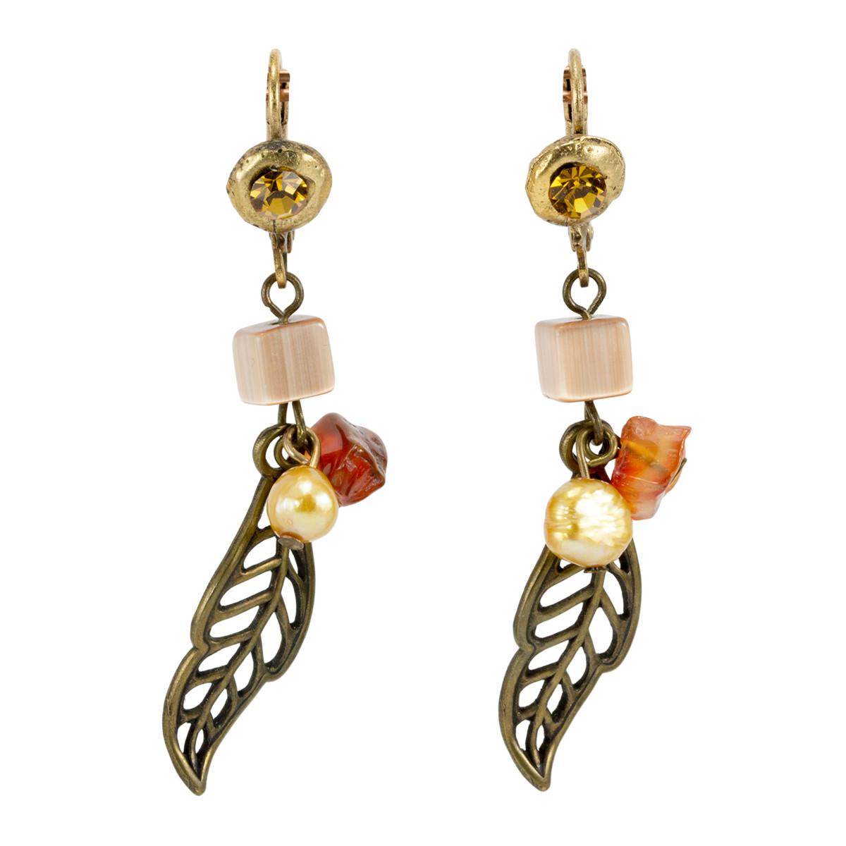 Brown Anat Jewelry Filigree Leaf  Earrings