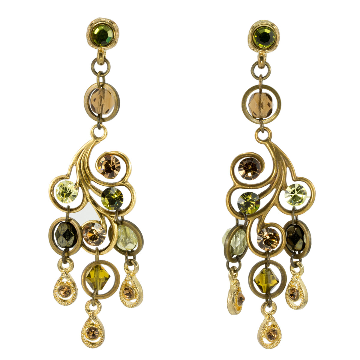 Anat Jewelry Chandelier Brown and Green Earrings