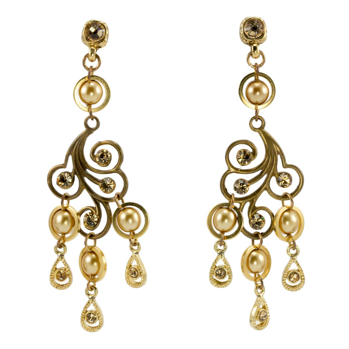 Anat Jewelry Chandelier Gold Earrings