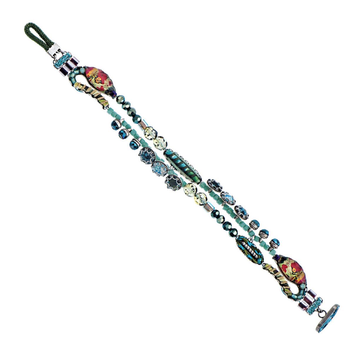Ayala Bar Blue Aqua Button Clasp Bracelet