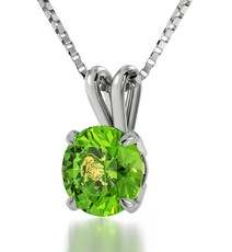 Inspirational Jewelry Silver Leo Green Necklace