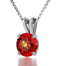 Inspirational Jewelry Silver Leo Red Necklace