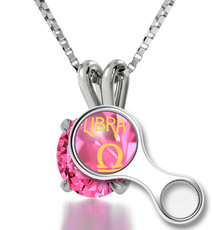 Inspirational Jewelry Silver Libra Pink Necklace