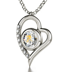Inspirational Jewelry Silver Heart Aquarius Necklace