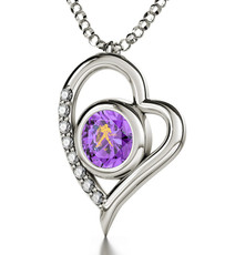 Inspirational Jewelry  Aquarius Silver Heart Necklace
