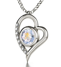 Opal Inspirational Jewelry Silver Heart Aquarius Necklace
