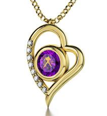 Nano Jewelry Purple Gold Heart Aquarius Necklace
