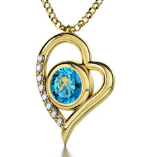 Inspirational Jewelry Teal Necklace Gold Heart Aquarius
