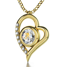Inspirational Jewelry Gold Heart Aquarius Clear Necklace