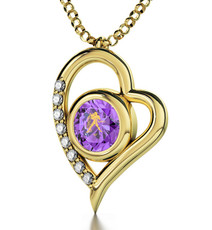 Inspirational Jewelry Gold Heart Aquarius Violet Necklace