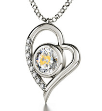 Inspirational Jewelry Necklace Silver Heart Pisces