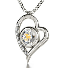 Clear Silver Heart Aries necklace from Inspirational Jewelry