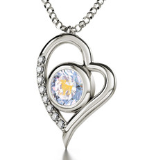 Inspirational Jewelry Necklace Silver Heart Aries