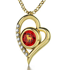 Inspirational Jewelry Red Necklace Gold Heart Aries