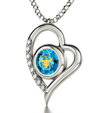 Inspirational Jewelry Silver Heart Taurus Teal Necklace