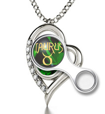 Green Inspirational Jewelry Silver Heart Taurus Necklace