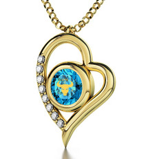 Teal Inspirational Jewelry Gold Heart Taurus Necklace