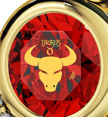 Inspirational Jewelry Red Necklace Gold Heart Taurus