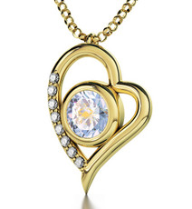 Opal Inspirational Jewelry Gold Heart Cancer Necklace