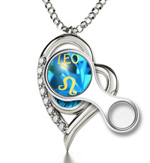 Nano Jewelry Teal Silver Heart Leo Necklace