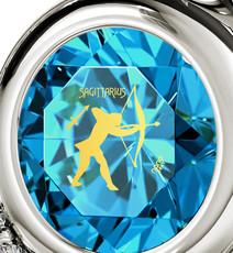 Teal Inspirational Jewelry Silver Heart Sagittarius Necklace