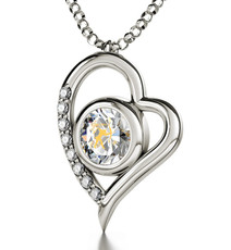 Clear Silver Heart Sagittarius necklace from Inspirational Jewelry
