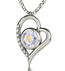 Inspirational Jewelry Necklace Silver Heart Sagittarius