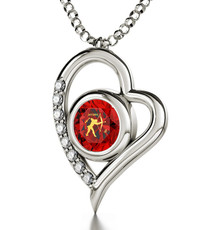 Inspirational Jewelry Silver Heart Sagittarius Necklace