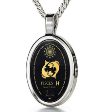 Inspirational Jewelry Silver Oval Pisces Black Necklace