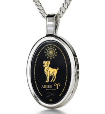 Black Silver Oval Aries necklace from Inspirational Jewelry