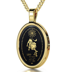 Inspirational Jewelry Gold Oval Leo Black Necklace