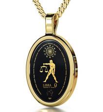 Nano Jewelry Gold Oval Libra Necklace