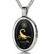 Inspirational Jewelry Necklace Silver Oval Scorpio