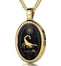Inspirational Jewelry Gold Oval Scorpio Necklace