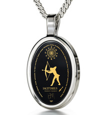 Inspirational Jewelry Silver Oval Sagittarius Necklace